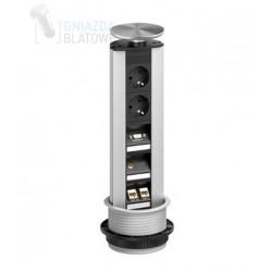 Gniazdo blatowe, 2x 230V + 2x RJ45 + 1x VGA + 1x Mini Jack, stalowe wieko, EVOline Port Multimedia Professional