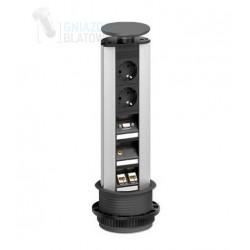 Gniazdo blatowe, 2x 230V + 2x RJ45 + 1x VGA + 1x Mini Jack, czarne wieko, EVOline Port Multimedia Professional