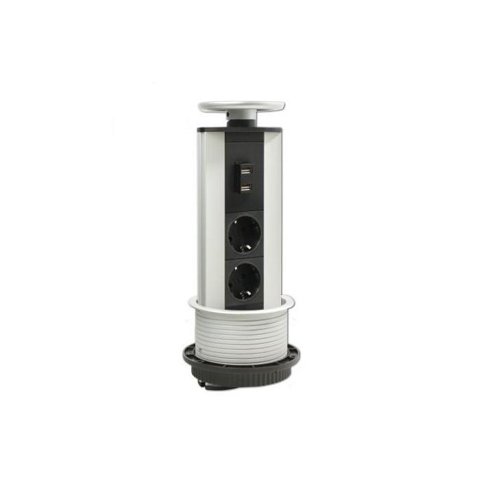 Mediaport, 2 gniazda + moduł Mini USB, Schulte EVOline Port USB Charger