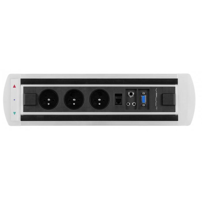 Mediaport obrotowy, 3 x 230V + 1 x RJ45 + 1 x Video + 2 x Mini Jack, VAULT Rolbox