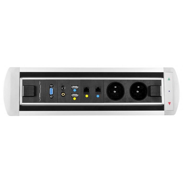 Mediaport obrotowy, 2 x 230V + 2 x RJ45 + 2 x USB + Video + 2 x Mini Jack, VAULT Rolbox